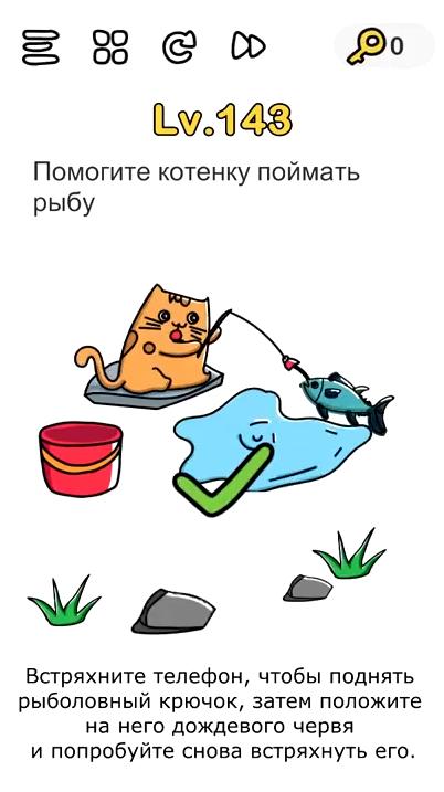 Помогите котенку поймать рыбу. 143 уровень